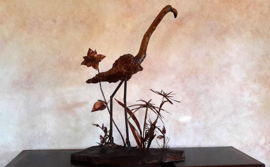 'Fenicottero' composizione legno-rame-ferro